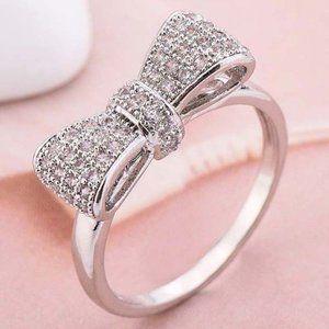 NEW 925 Sterling Silver Diamond Milgrain Bow Ring